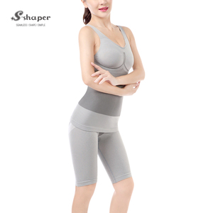 S-SHAPER Slim Charcoal,Women Tourmaline Full Body Shaper Suit,Tourmaline Bamboo Bodysuit