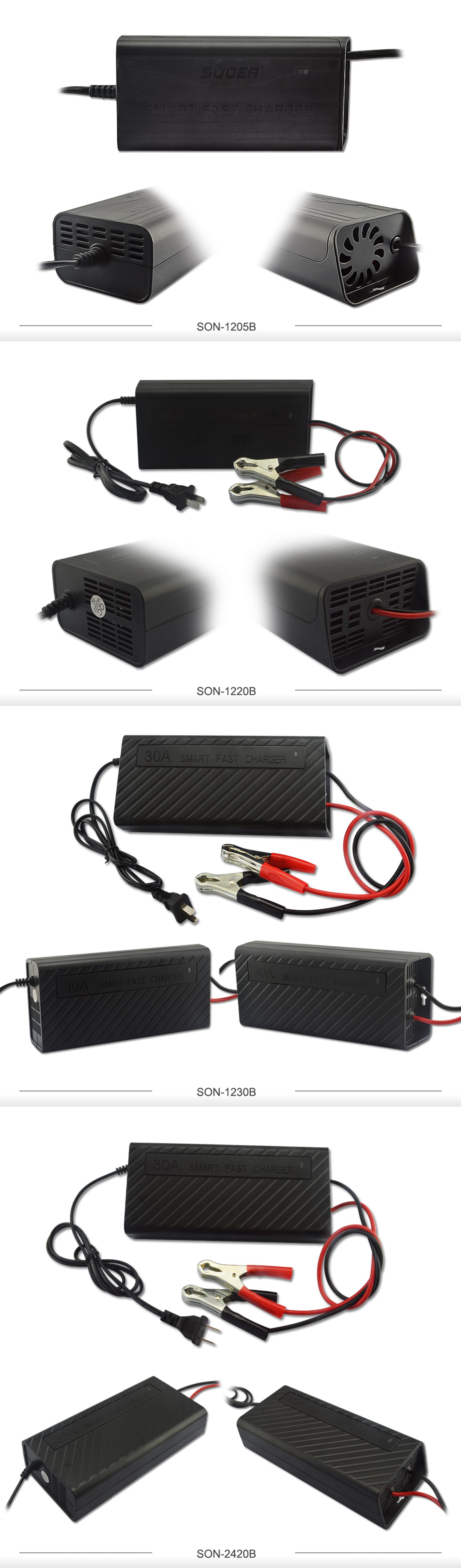 Suoer Smart Fan four-phase charging 12V 5A Universal Battery Charger
