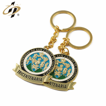 Manufacturer supply cheap custom your own enamel logo gold metal keychain