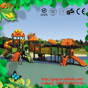 Double Level Big Playground Equipment, Preschool and Park's Favorite, Children Long Tunnel Slides GQ-061-B