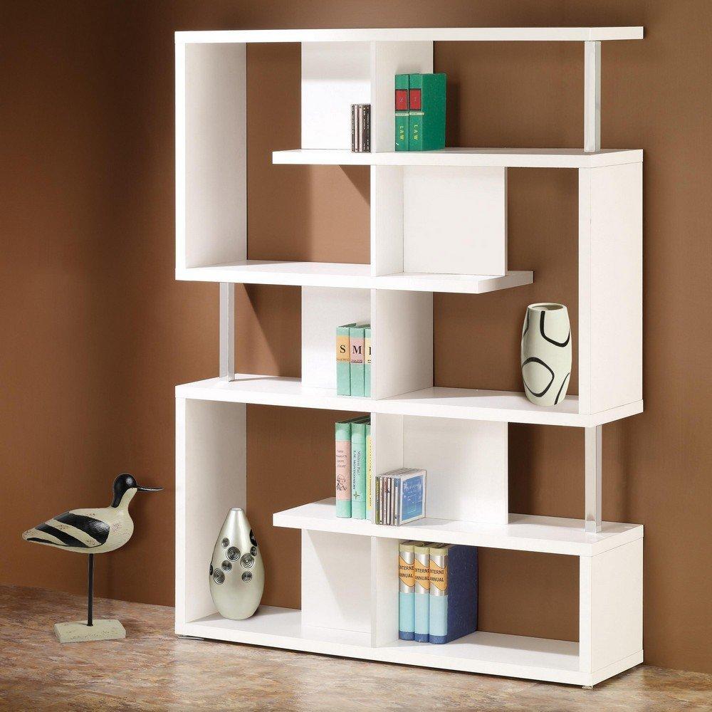 Get Quotations · Alternating Shelves Design Room Divider White Finish Wood  Modern Styling Slim Line Bookcase Shelf Unit