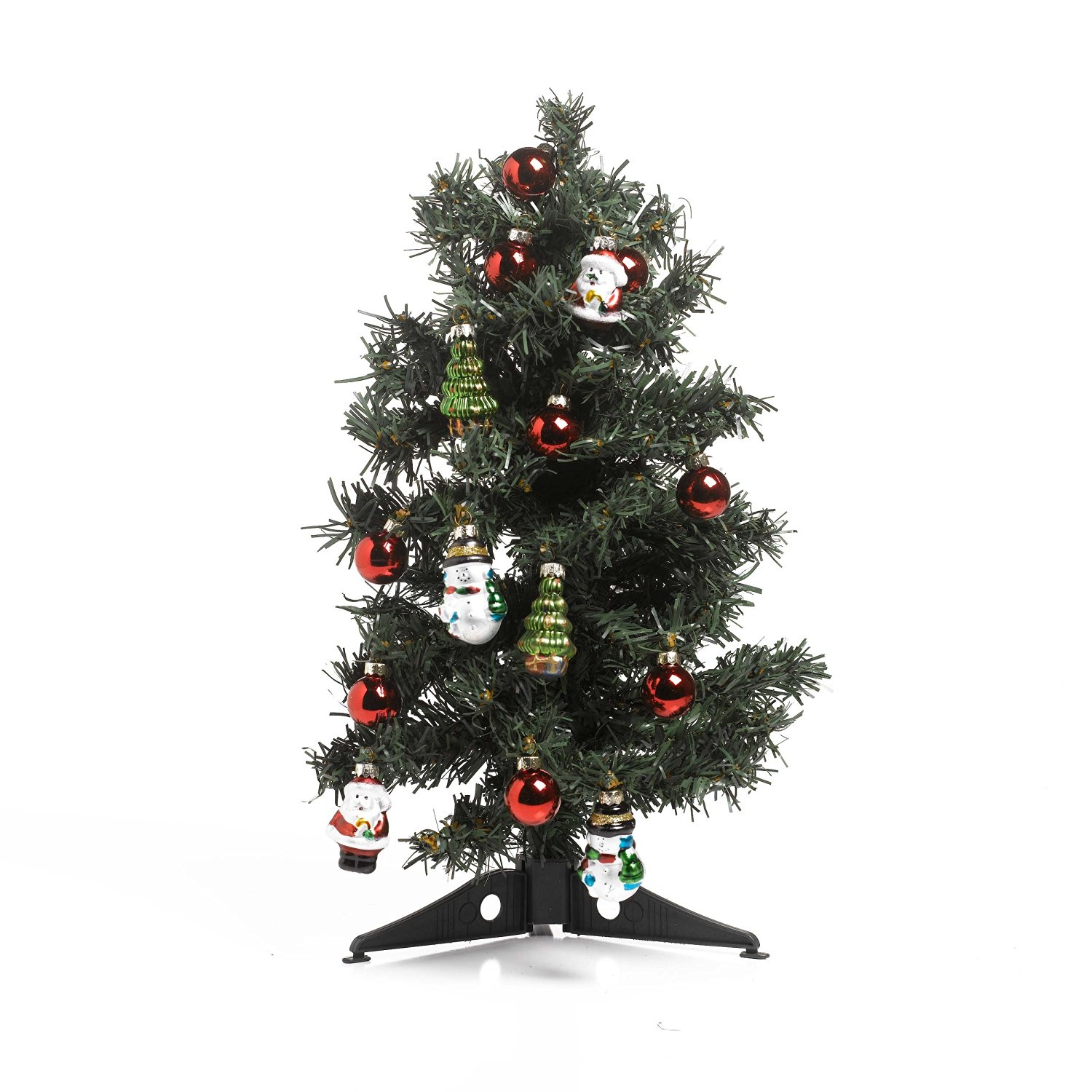 Kaemingk Mini Decorated Christmas Tree with Ornaments with Red Balls, Santa, Snowmen and Christmas Trees