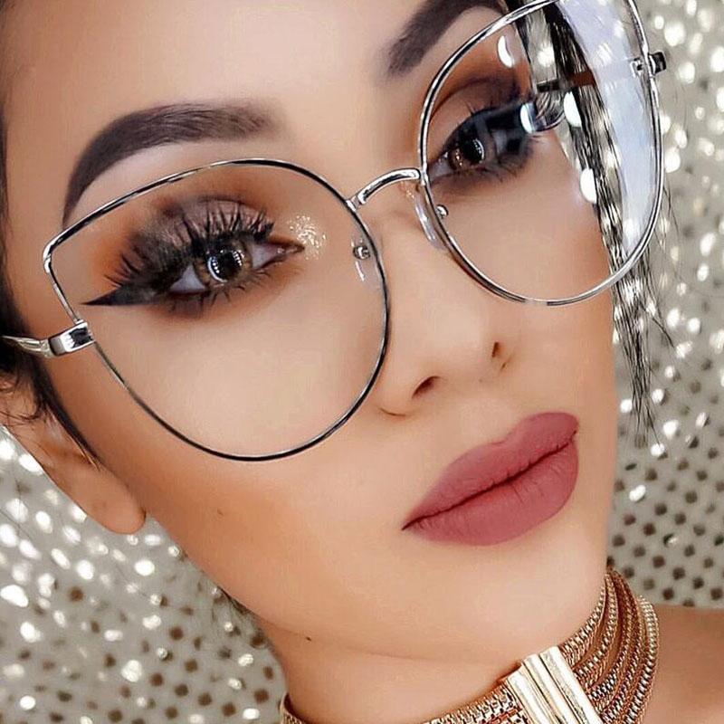 mejor selección 23f1e 3d266 Compre SHAUNA Oversize Women Metal Cat Eye Glasses Frame Diseñador De La  Marca Moda Hombres Lentes Transparentes Lentes A $25.9 Del Blingship   ...
