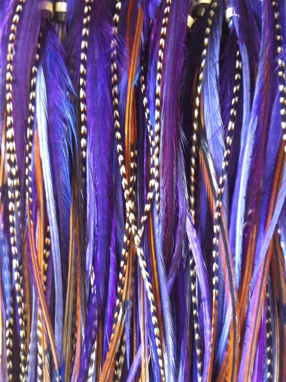 "Feather Hair Extension 4""to7"" in Length 5 Dark Purple with Natural Brown Mix Feathers"