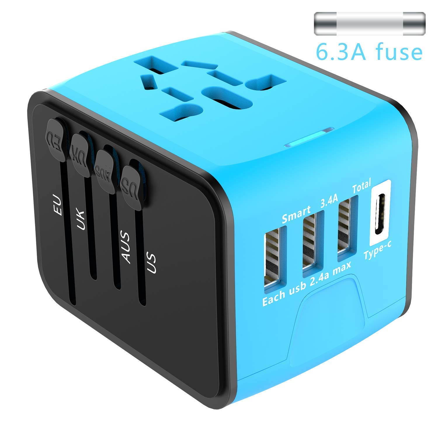 Universal Fit Travel Power Adapter - 3 USB + 1 Type C - Fast 2.4 A - Worldwide International Travel Adapter, AC Wall Plug Adapter – All in One for US UK EU AUS Asia - 1-Year Replacement Warranty