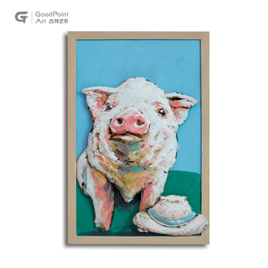 Adorable Pig Wall Decor Metal Art Paintings Solid Animals Home