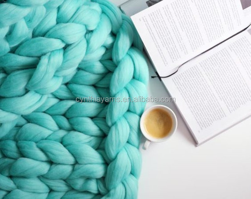 Wholesale Wool Roving 21 23 Micron Chunky Merino Wool Baby Blanket