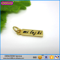 Custom metal jewelry gold plated charm, logo engaved jewelry tag charm