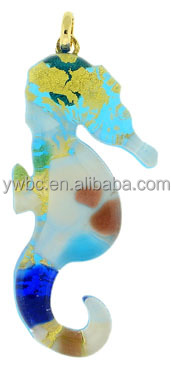 china supplier jewelry murano glass hippocampus charm (LMNB-3666)
