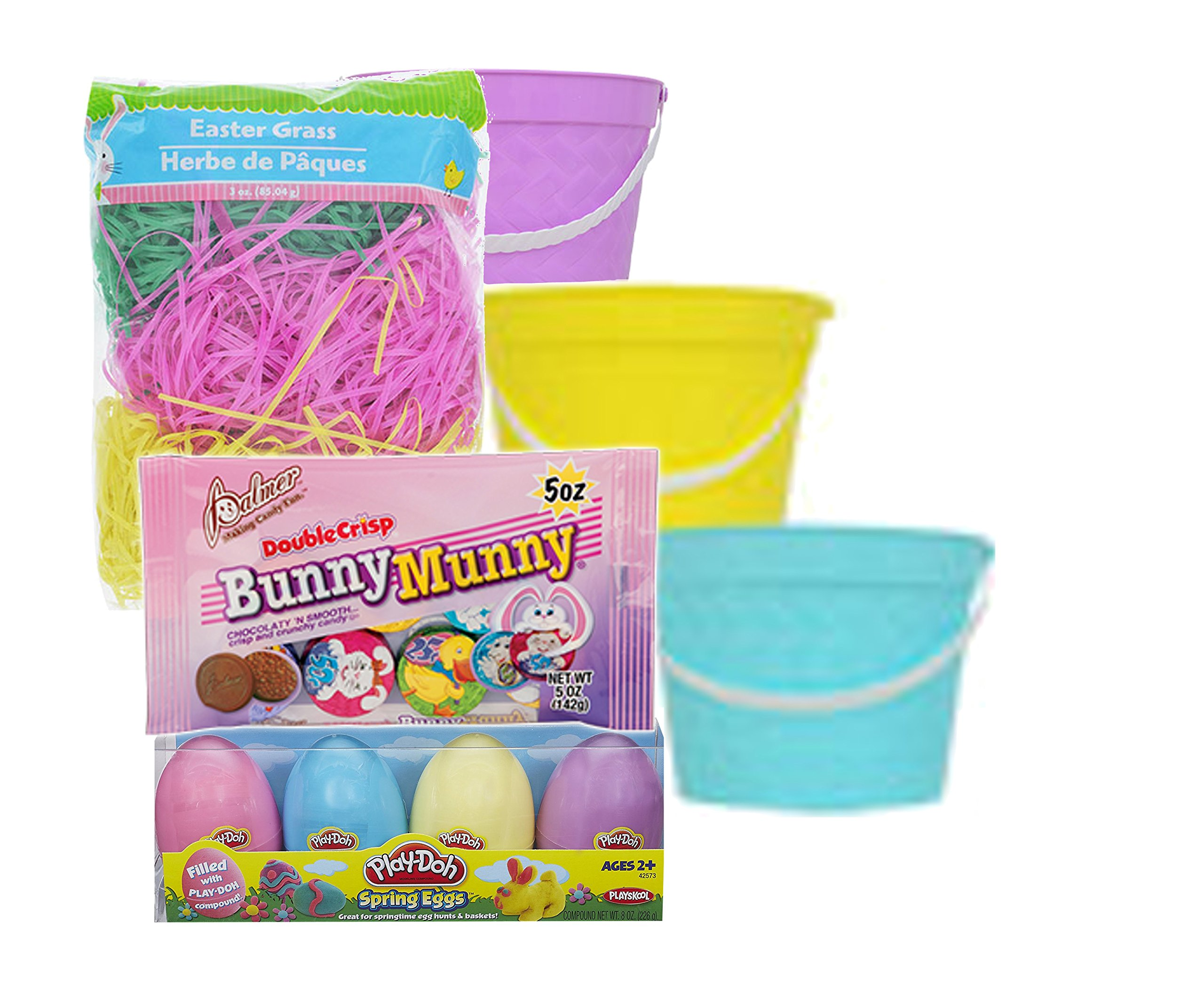Easter Baskets for kids toddlers with Play Doh Spring Eggs 4 pack, Colorful Easter Grass Basket fluff & Chocolate Candy. Great for Easter Egg Hunts & Easter Egg Festival!