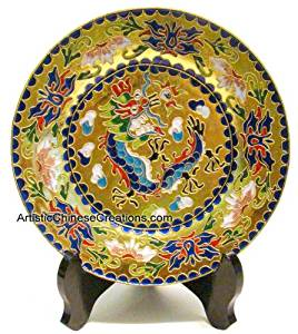 Chinese Art Chinese Collectibles / Chinese Home Decor / Chinese Gifts: Chinese Cloisonne Plate - Dragon