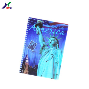Wholesale A4/A5/A6 PVC cover 3d notebook with spiral wire, lenticular cover notebook