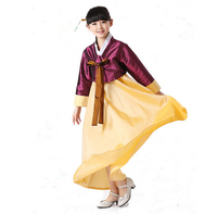 PGCC1749 Korea elegant good quality cotton silk Hanbok girls/children purple customize ethnic costume