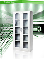 2 glass door iron cupboard/simple cupboard design/office steel cabinet with lock
