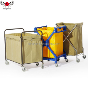 High quality hotel room service cart hot selling plastic or stainless steel laundry cart
