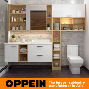 Oppein Modern Wall Mounted Laminate Door Sink Bathroom Side Cabinet