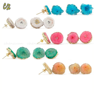 New designs druzy earrings jaipur various colors druzy stone earrings stud