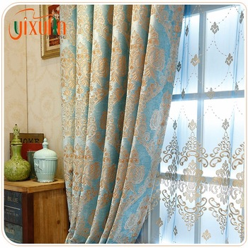 2017 New Design 100 Polyester Turkish Curtains Embroidery For Office Room
