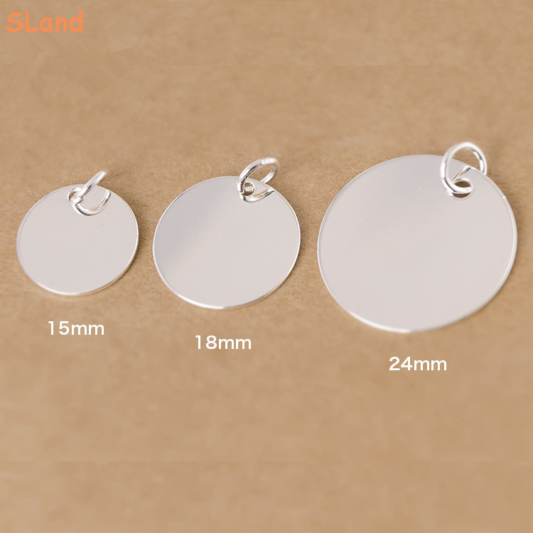 High repurchase rate!Rhodium plated 15/18/24mm round tags charm engravable 925 sterling silver discs for jewelry making