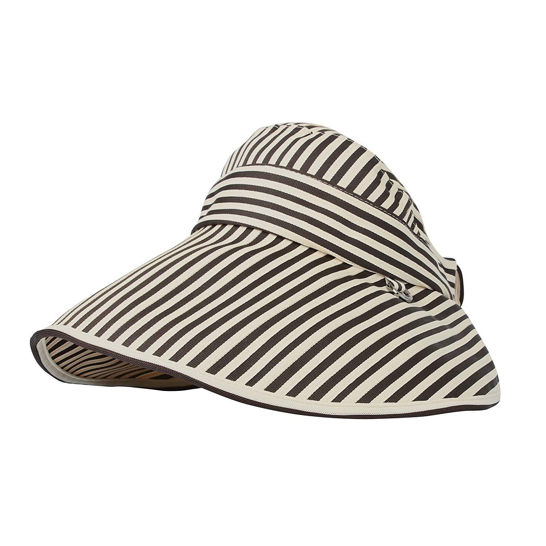 8fc170a3 Get Quotations · WITHMOONS Womens Summer Sun Visor Cap Packable Stripes Beach  Hat CRV1040