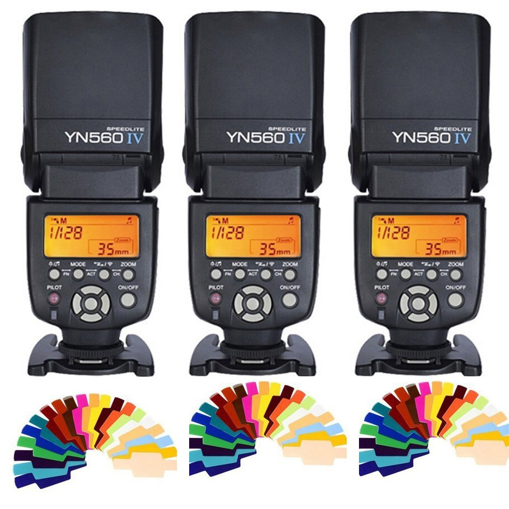 Yongnuo YN560 IV 2.4G Wireless Flash Speedlite 3pcs+Color filters for Canon Nikon Olympus Sony Pentax