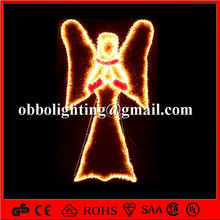 Holiday lighted outdoor angel wall decoration