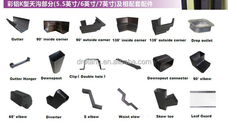 Square Gutter And Gutter Fittings Color Black Brown White