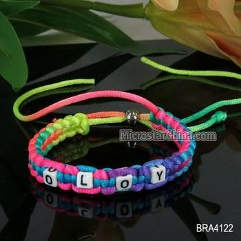 Silk Custom Made Friendship Bracelets With Alphabet Beads