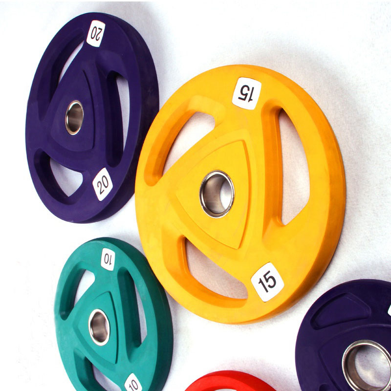 Colorful Rubber Coated Tri Grip Bumper Weight Plate for Gym Training