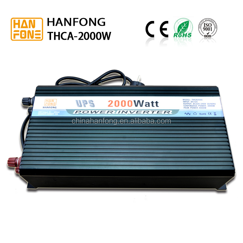 2000w self charging 20A 12Vdc to 220Vac home inverter ups power invertor/converter with charger