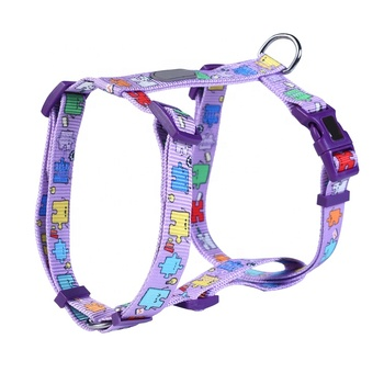 Customized Pet Products Plain Nylon Dog Harness for Dogs , Heat Transfer Custom Printed Pattern Pet Dog Harness