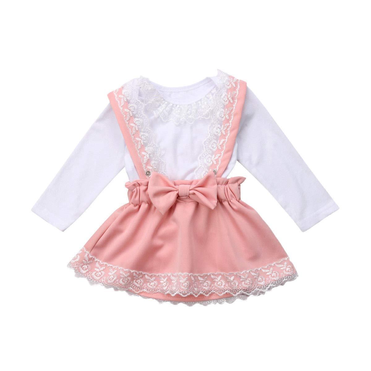 281e3cc41 Get Quotations · Baby Girl Skirt Set Lace Collar Romper Bodysuit Suspender  Bowknot Overalls Skirt