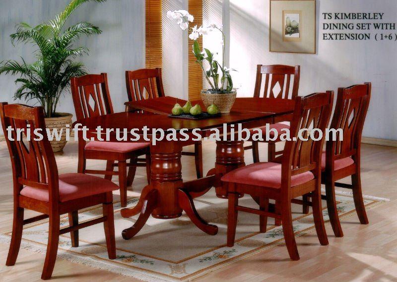 Extendable dining table silla de comedor de madera for Juego de comedor de madera de 6 sillas