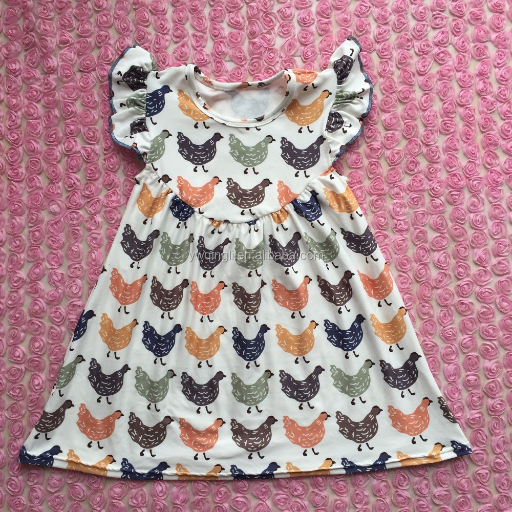 94ac33e75eedc Little girls summer flutter dress milk silk chicken printing fabric infant  dress, View chicken printing fabric infant dress, baby girl dress Product  ...