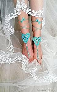 Green Beach Wedding Sandals,Wedding Accessory,Sexy Beach Sandals, Crochet Barefoot Sandals, Barefoot Sandals , Crochet Anklet, Sexy Lace Sandals,Beach,Wedding Footwear, Bridesmaid Sandals (Green-02)