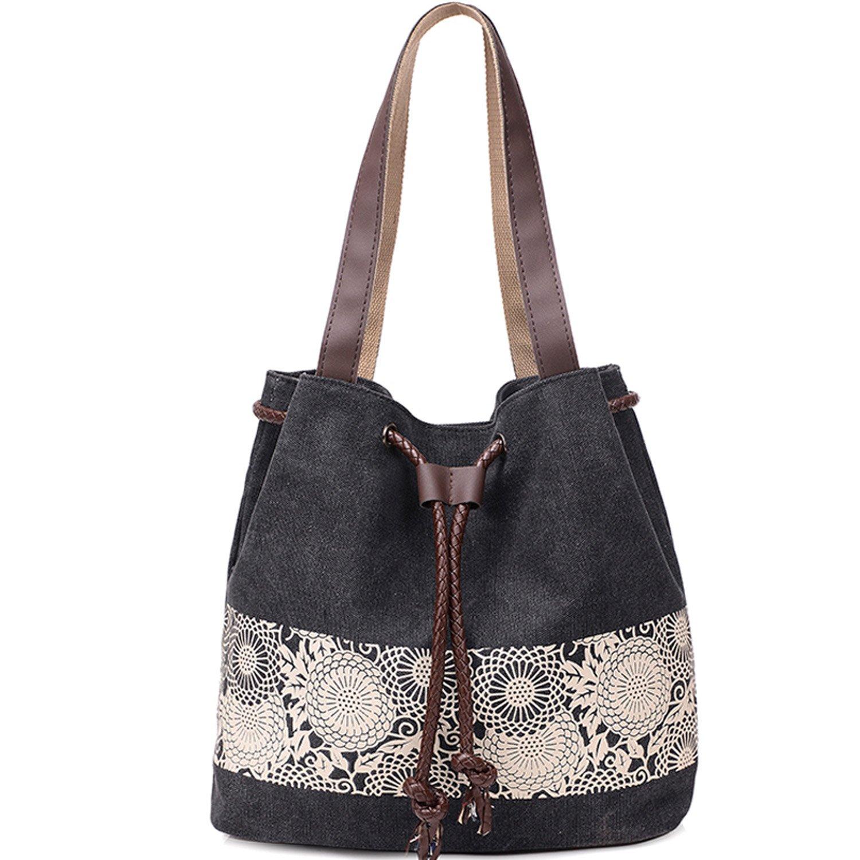 Canvas Tote Bag Casual Handbag Retro Printing Shoulder Bag For Women Girls Ladies Beach School Travel Bag Roomy Purse