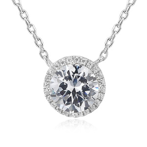 POLIVA Bisuteria Fashion Jewelry Costume 8925 Sterling Silver White Gold Plated Diamond Necklace