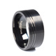 Black Tungsten Carbide Mens Wedding Ring Set Brushed with Center Groove Comfort Fit 10mm