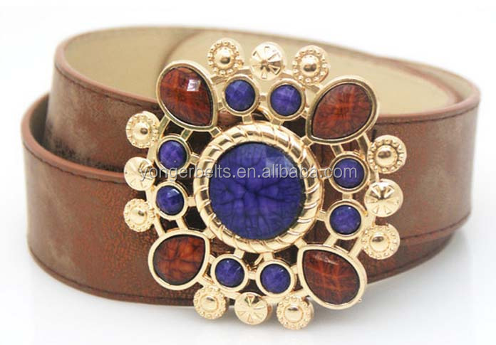 2015 fashion beads fancy buckle pu leather cheap belt for female