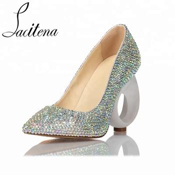 Women Hollow Heel Pointed Stiletto Elegant Wedding Shoes For Bride