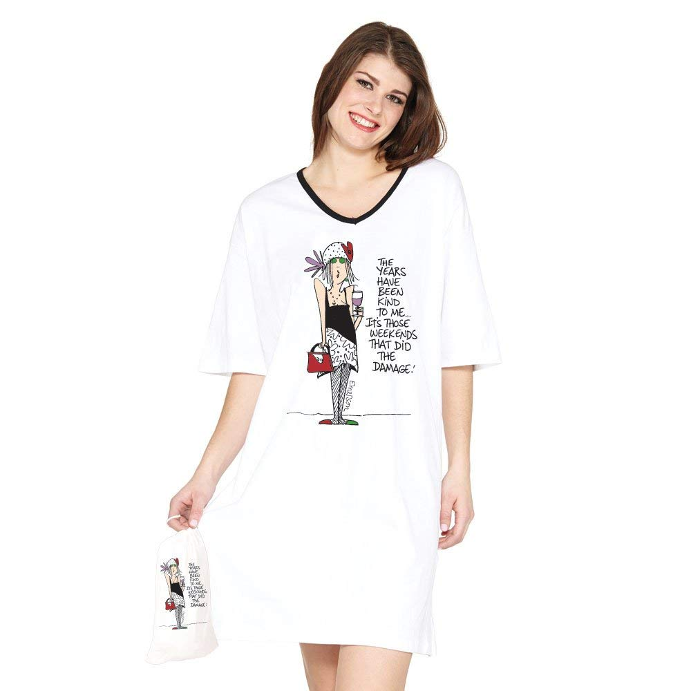 Get Quotations · Weekends Damage - White Nightshirt in a Bag 5b12ba47f