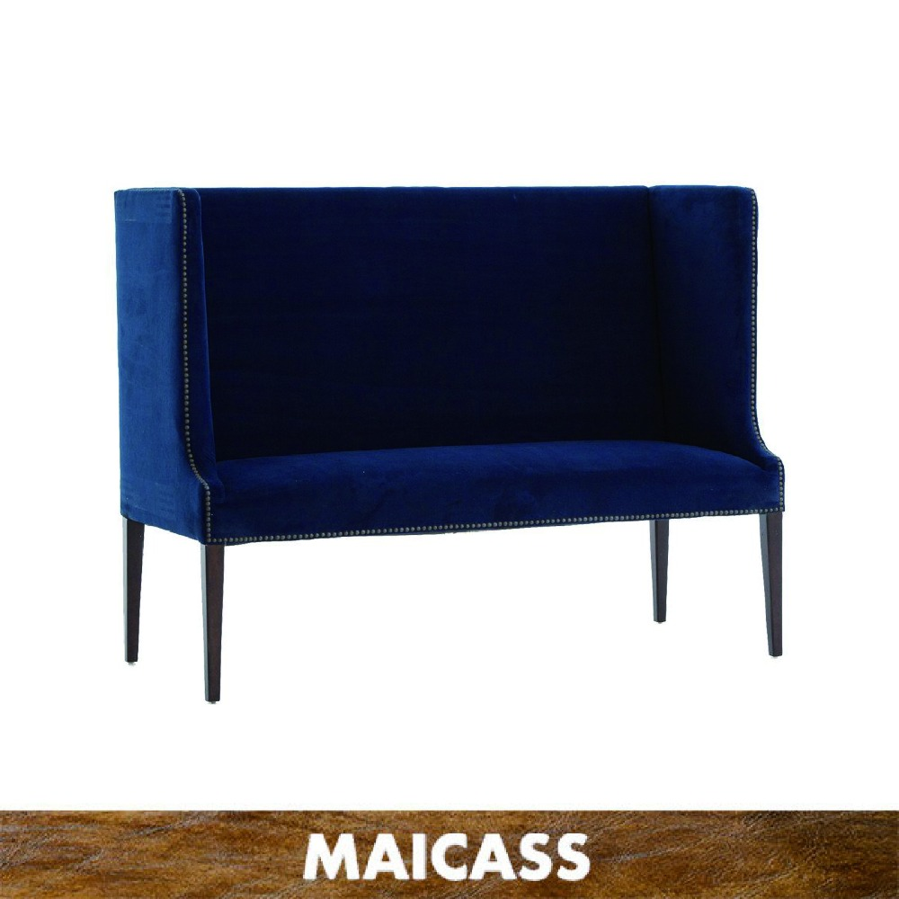 Fashionable lush velvet navy high back lord bench