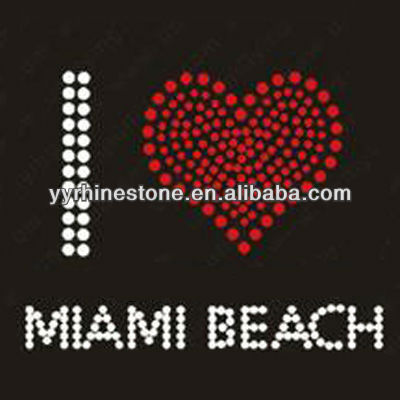Miami beach hotfix rhinestone transfer motif wholesale