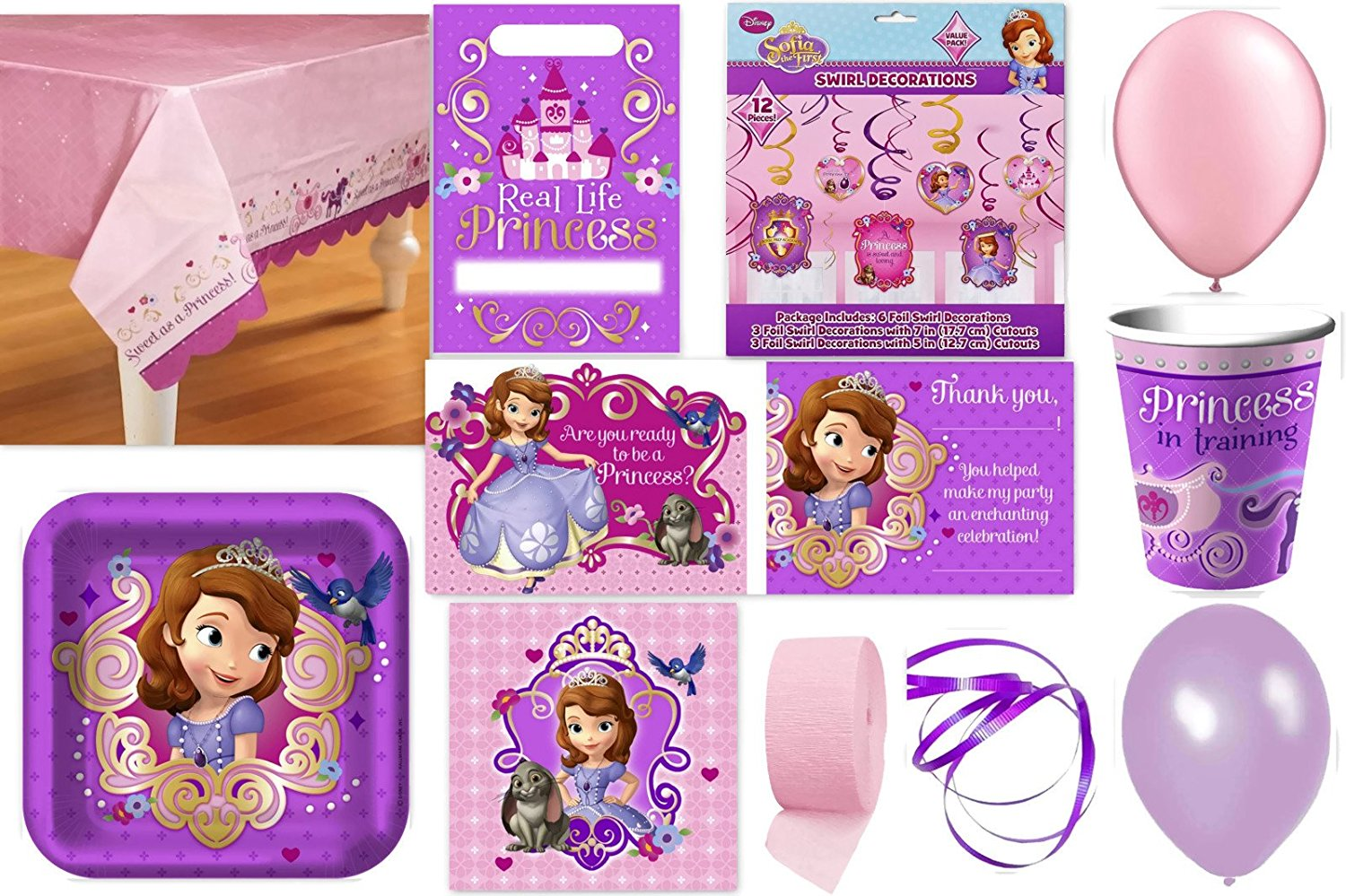 Sofia the First Party Supplies for 16 Guests This Ultimate Party Pack Includes Table Cover, Cups, Napkins, Plates, Treat Bags, Invitations, Swirl Decorations, Curling Ribbon, Streamer, and Balloons - This Bundle Includes 137 Pieces! by Disney