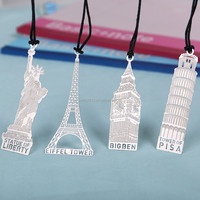 4 Styles Retro London Eiffel Tower Statue of Liberty Bookmark Stationery for Student Gift Office Supplies Bookmark