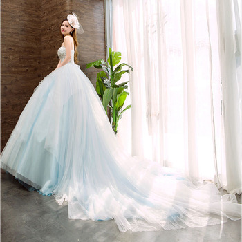 2019 Korean Wedding Party Dress Lace Bridal Gown Lady Dress For