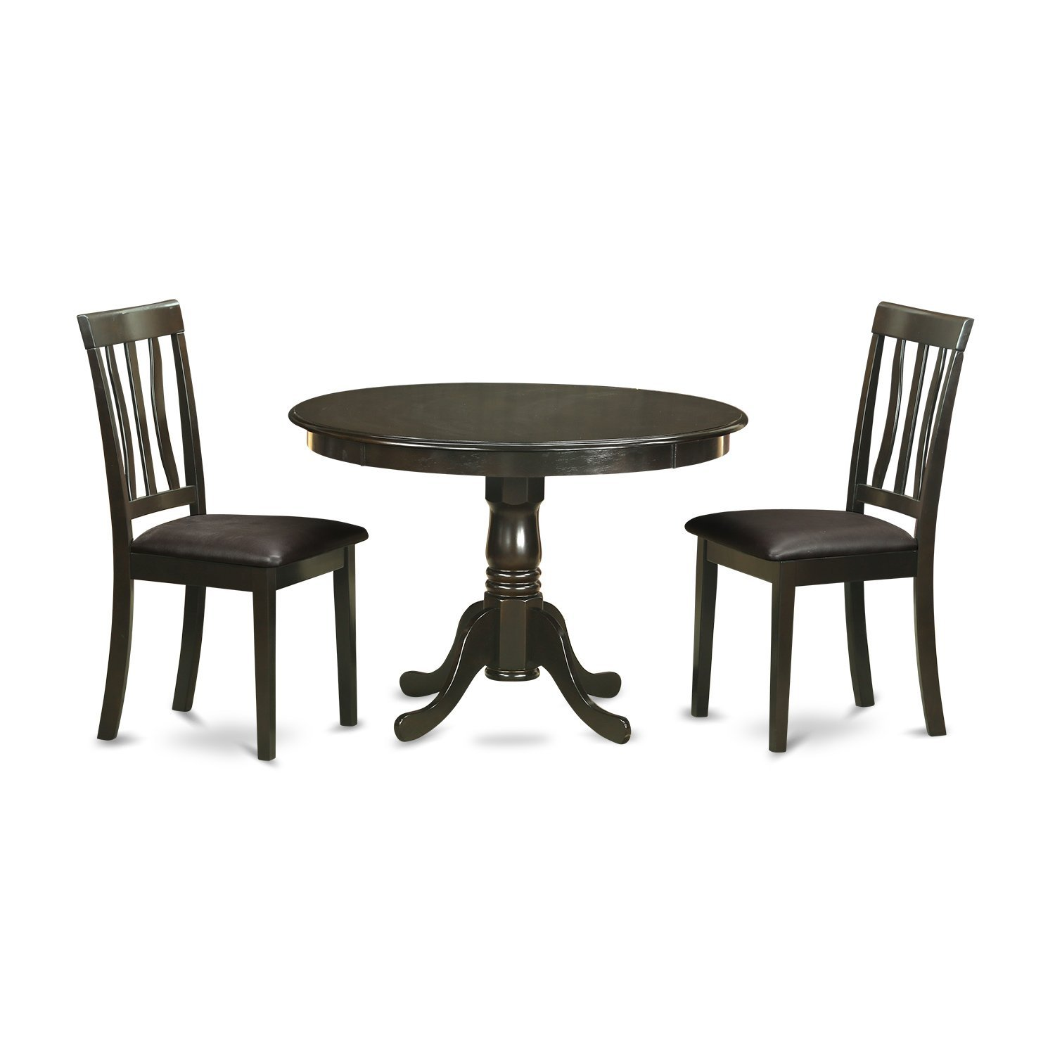 East West Furniture HLAN3-CAP-C 3-Piece Kitchen Nook Dining Table Set, Cappuccino Finish