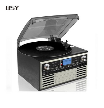 Factory price OEM 8 in 1 Music System turntable record player with built-in speaker