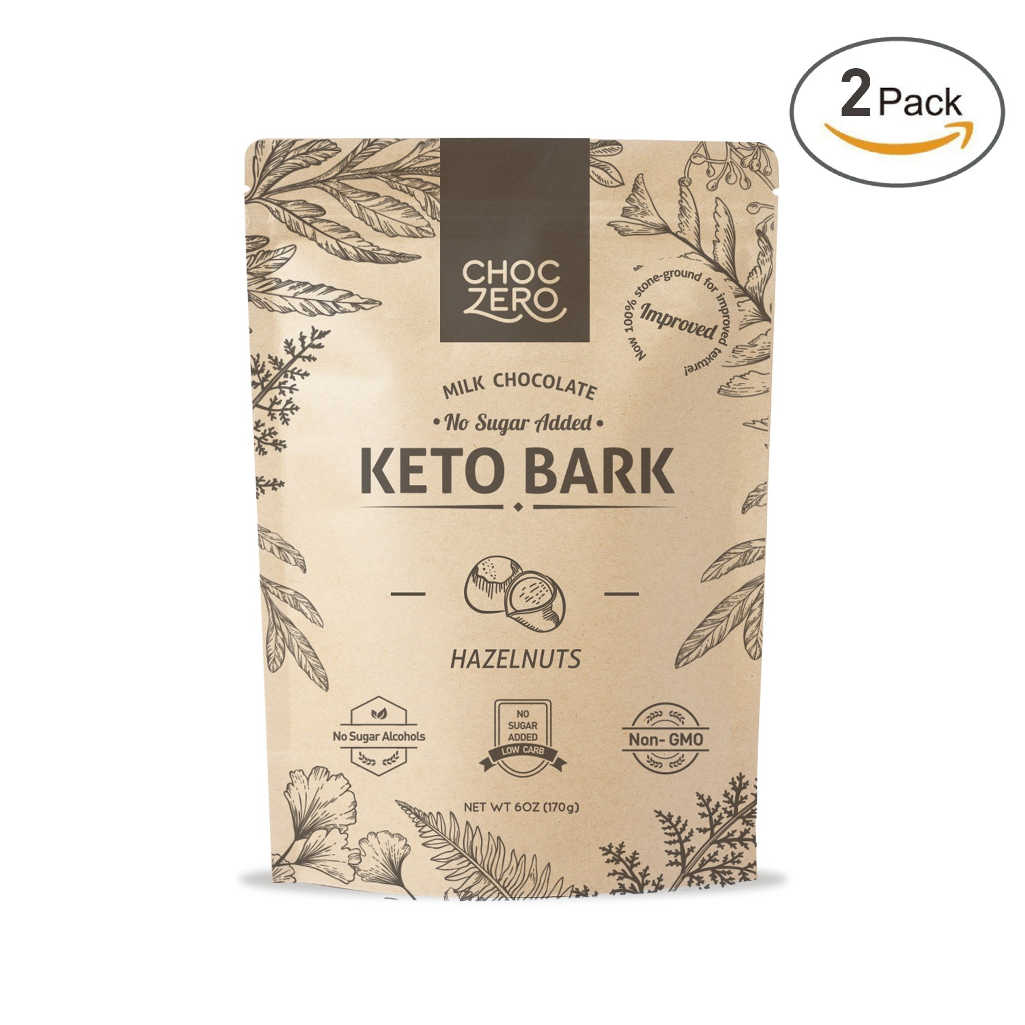 ChocZero's Keto Bark, Milk Chocolate Hazelnuts, 100% Stone-Ground, No Added Sugar, Low Carb, No Sugar Alcohols, Non-GMO (2 bags)