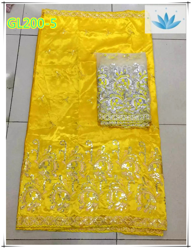 Yellow African george fabric /raw silk george wrappers with blouse for dresses